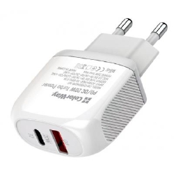 Зарядное устройство ColorWay Type-C PD + USB QC3.0 20W white (CW-CHS024QPD-WT)